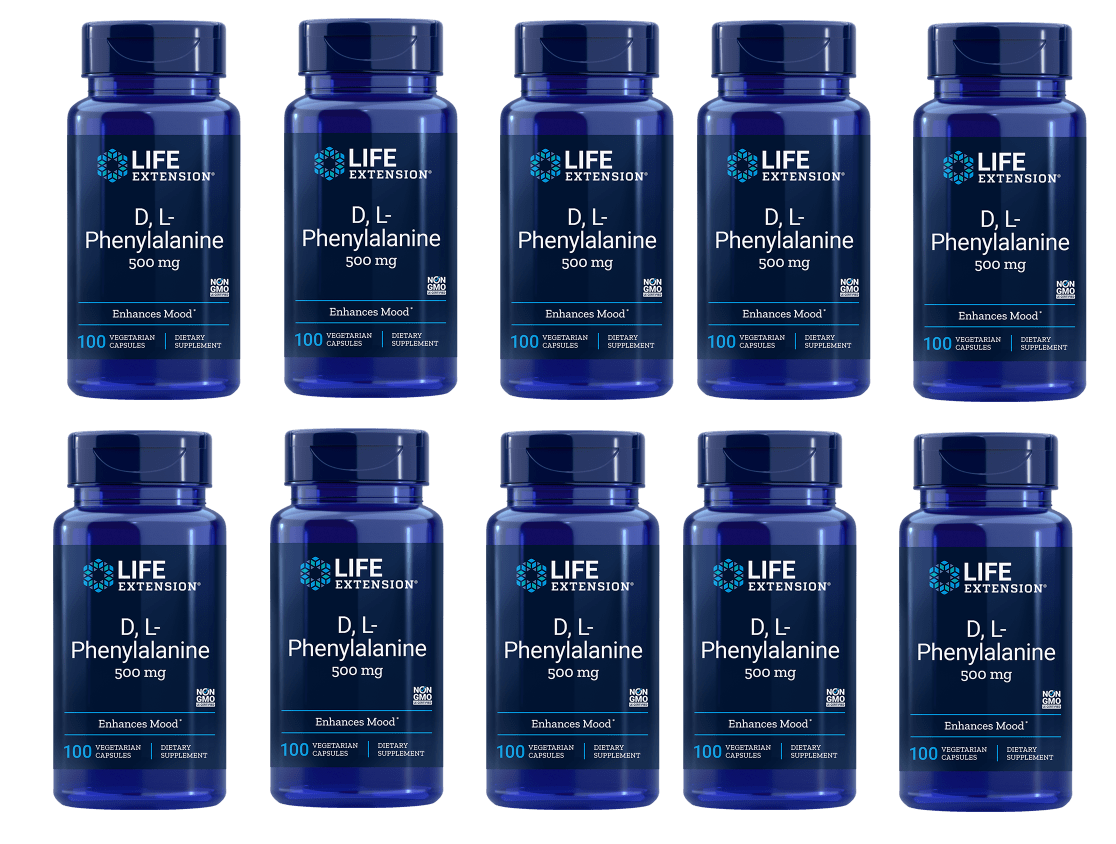 Life Extension D,L-Phenylalanine Capsules, 500 Mg 100 Vegetarian Capsules, 10-pack