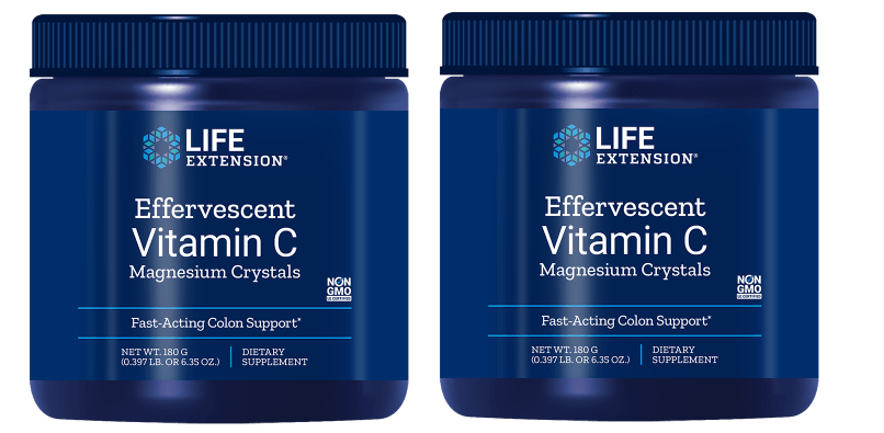 Life Extension Effervescent Vitamin C - Magnesium Crystals, Net Wt. 180 G (0.397 Lb. Or 6.35 Oz.), 2-pack
