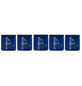 Life Extension Effervescent Vitamin C - Magnesium Crystals, Net Wt. 180 G (0.397 Lb. Or 6.35 Oz.), 5-pack