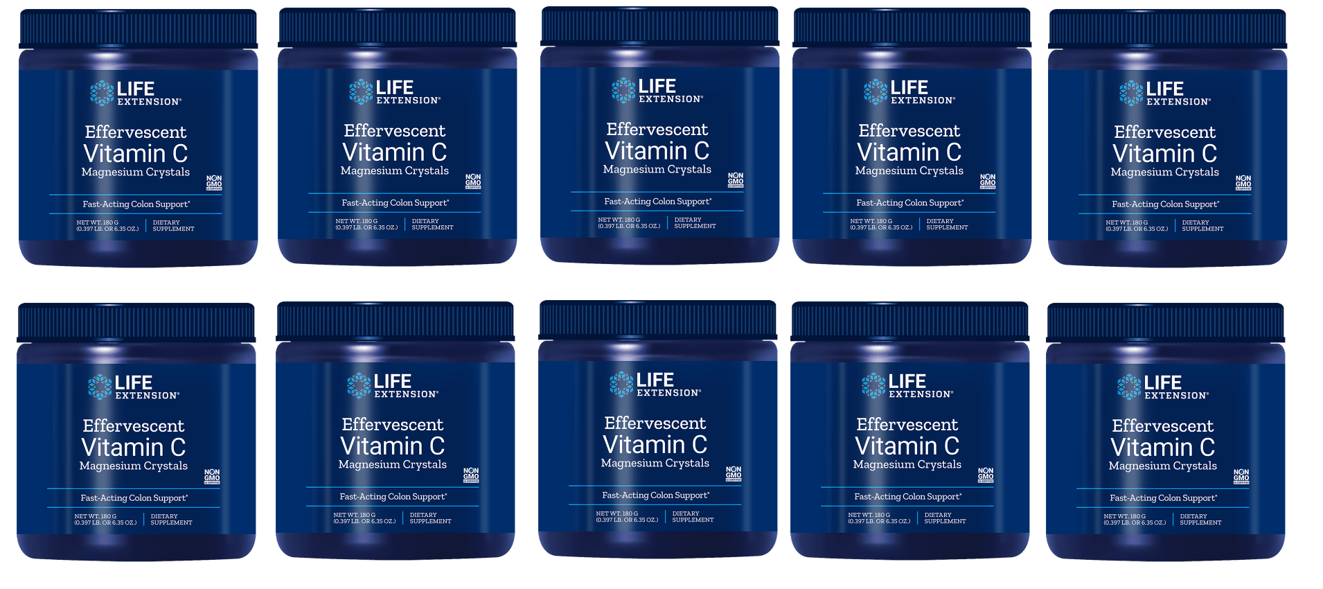 Life Extension Effervescent Vitamin C - Magnesium Crystals, Net Wt. 180 G (0.397 Lb. Or 6.35 Oz.), 10-pack
