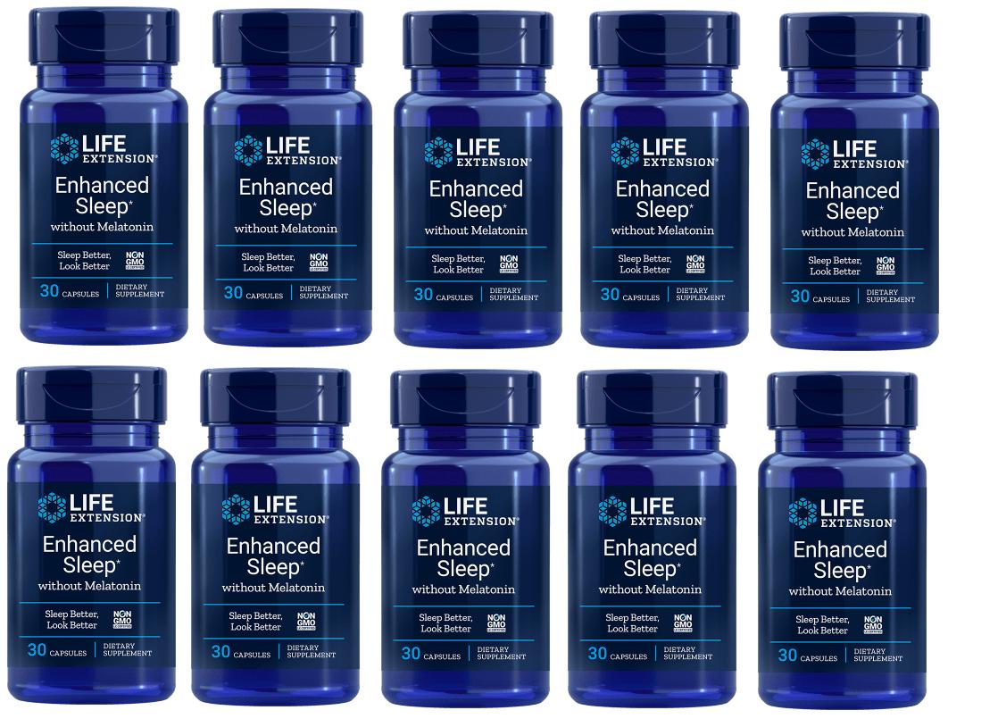 Life Extension Enhanced Sleep without Melatonin, 30 capsules, 10-pack