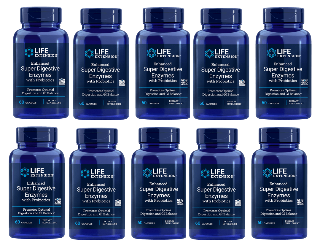 Life Extension Enhanced Super Digestive Enzymes With Probiotics, 60 Vegetarian Capsules, 10-packs