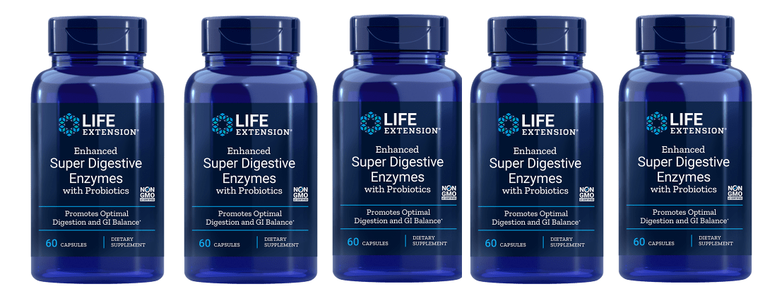 Life Extension Enhanced Super Digestive Enzymes With Probiotics, 60 Vegetarian Capsules, 5-packs