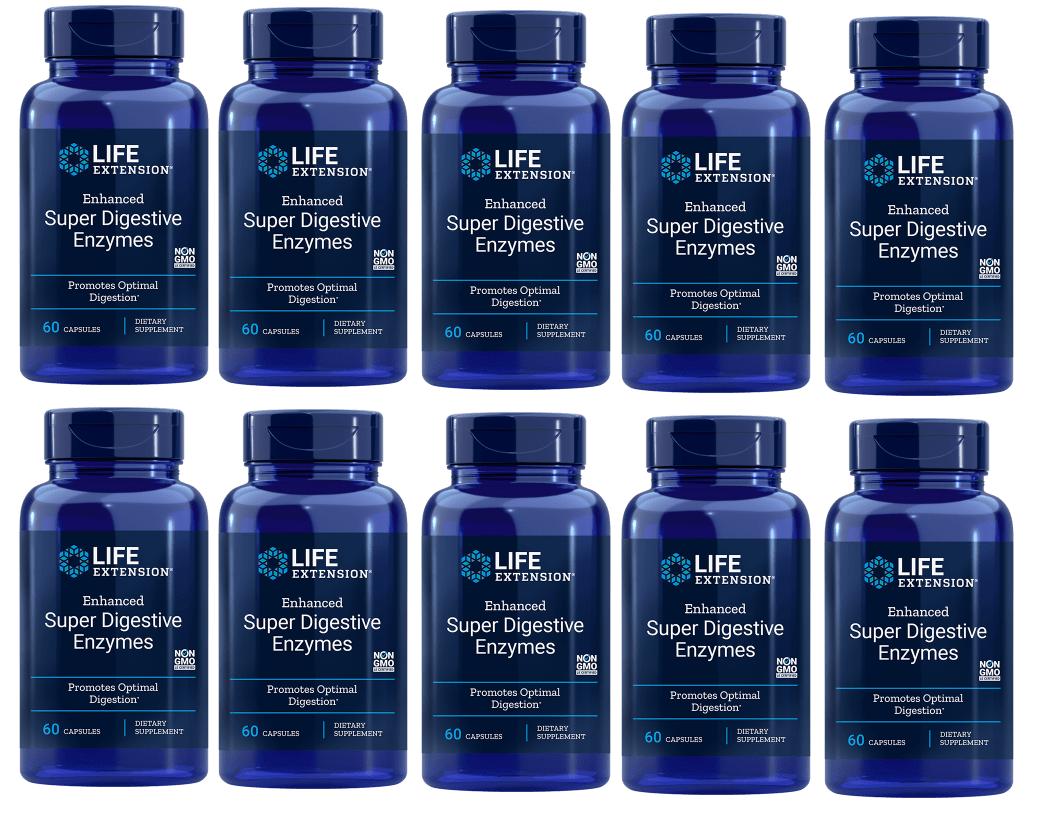 Life Extension Enhanced Super Digestive Enzymes, 60 Vegetarian Capsules, 10-packs