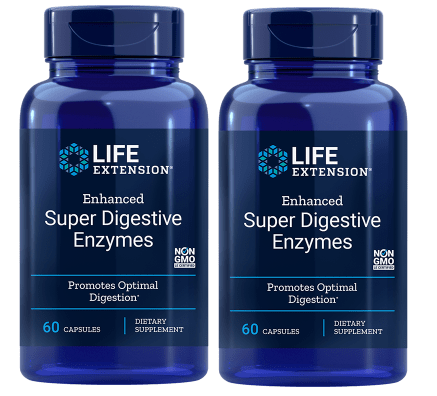 Life Extension Enhanced Super Digestive Enzymes, 60 Vegetarian Capsules, 2-packs