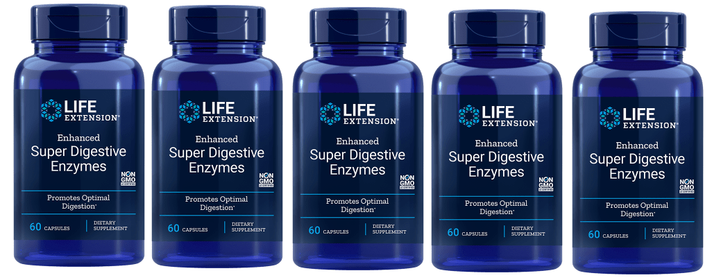 Life Extension Enhanced Super Digestive Enzymes, 60 Vegetarian Capsules, 5-packs