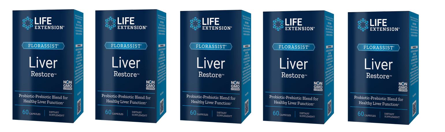 Life Extension Florassist® Liver Restore, 60 Capsules, 5-pack