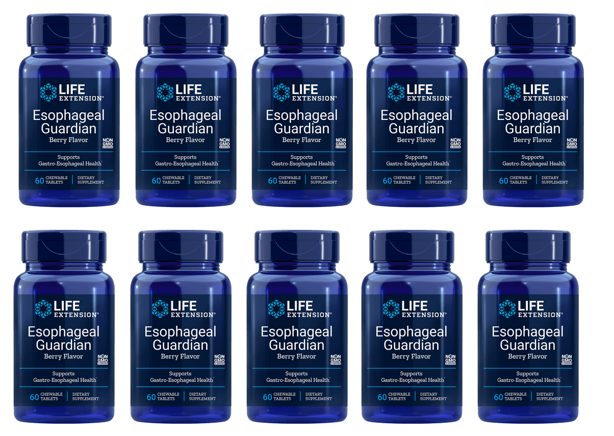 Life Extension Esophageal Guardian, Natural Berry Flavour, 60 Chewable Tablets, 10-pack