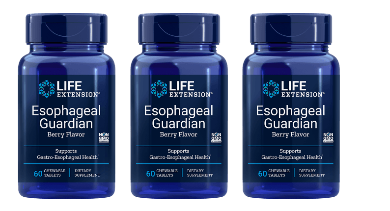 Life Extension Esophageal Guardian, Natural Berry Flavour, 60 Chewable Tablets, 3-pack