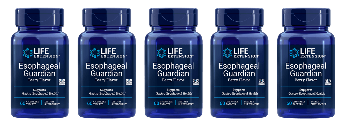 Life Extension Esophageal Guardian, Natural Berry Flavour, 60 Chewable Tablets, 5-pack
