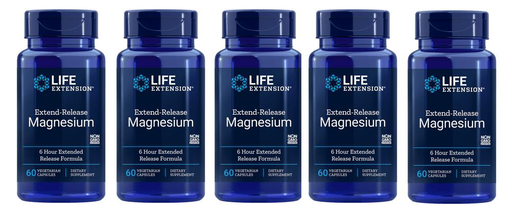 Life Extension Extend-Release Magnesium, 60 Vegetarian Capsules, 5-pack
