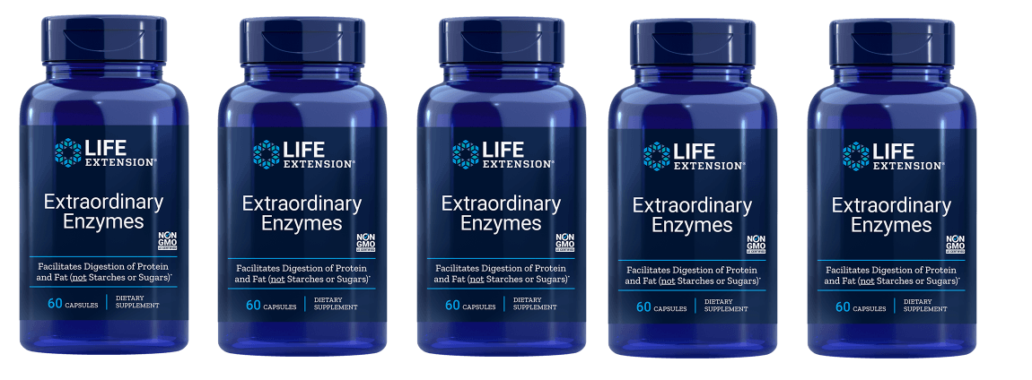 Life Extension Extraordinary Enzymes | 60 Capsules, 5-pack