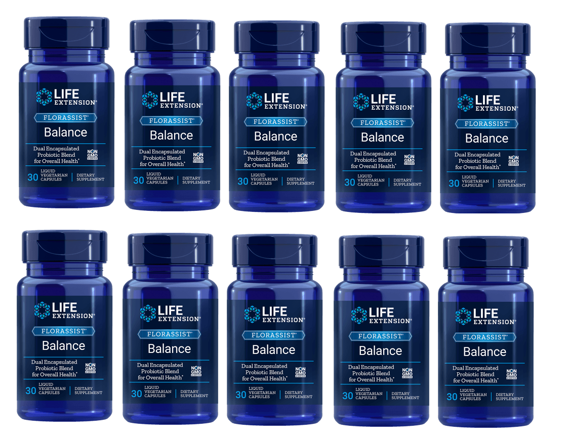 Life Extension Florassist® Balance, 30 Liquid Vegetarian Capsules, 10-packs
