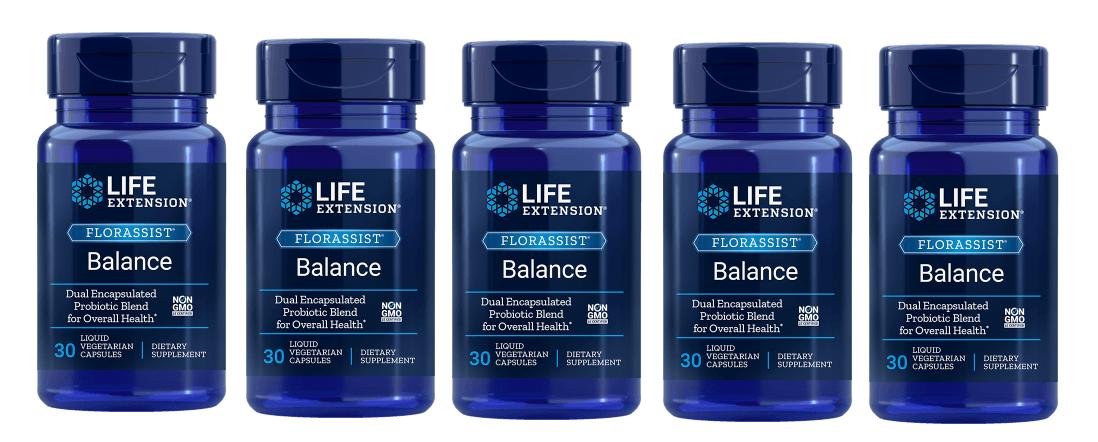 Life Extension Florassist® Balance, 30 Liquid Vegetarian Capsules, 5-packs