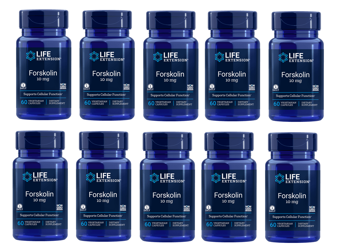 Life Extension Forskolin, 10 Mg 60 Vegetarian Capsules, 10-pack