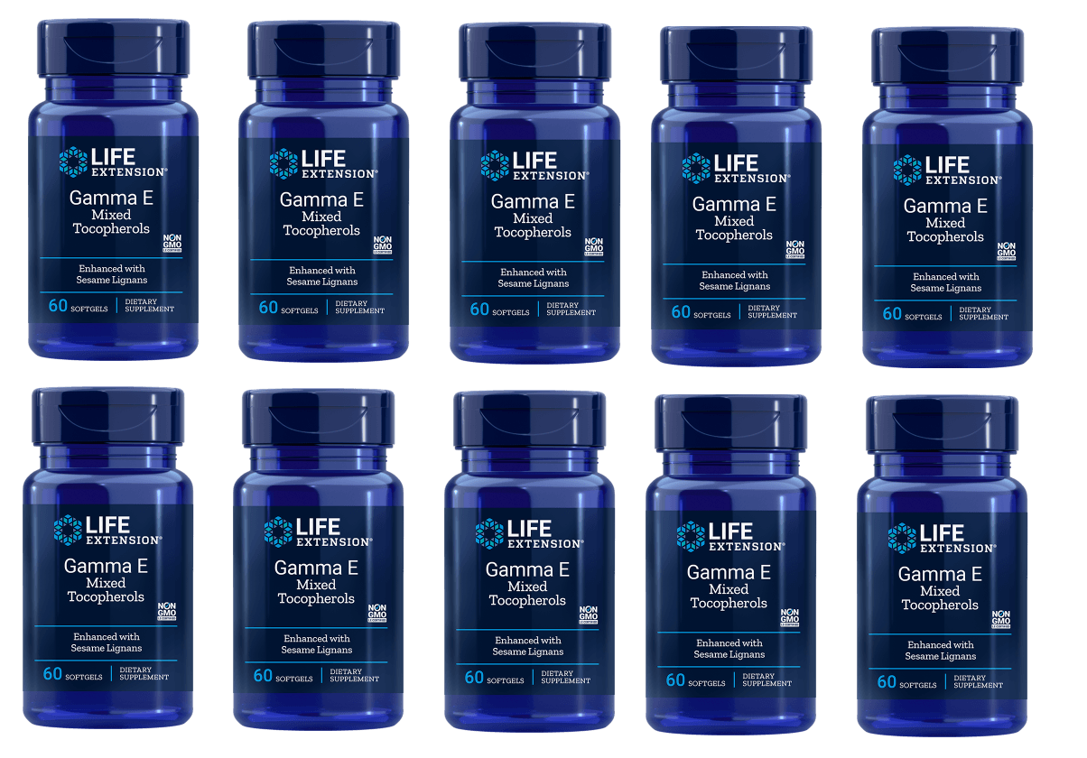 Life Extension Gamma E Mixed Tocopherols, Enhanced With Sesame Lignans, 10-pack