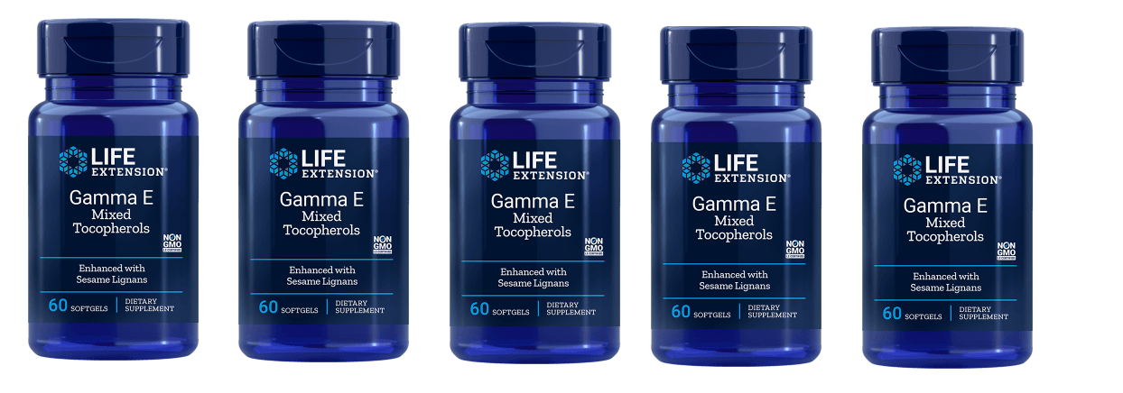 Life Extension Gamma E Mixed Tocopherols, Enhanced With Sesame Lignans, 5-pack