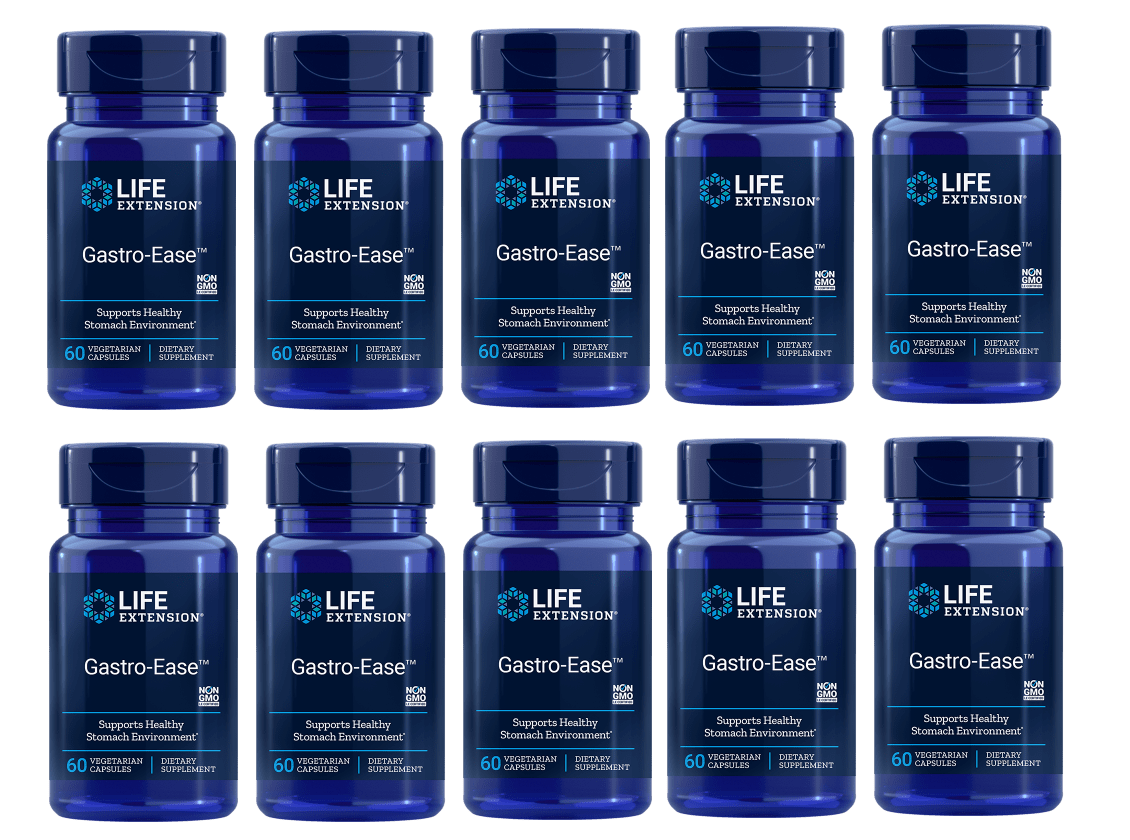 Life Extension Gastro-Ease, 60 Vegetarian Capsules, 10-pack