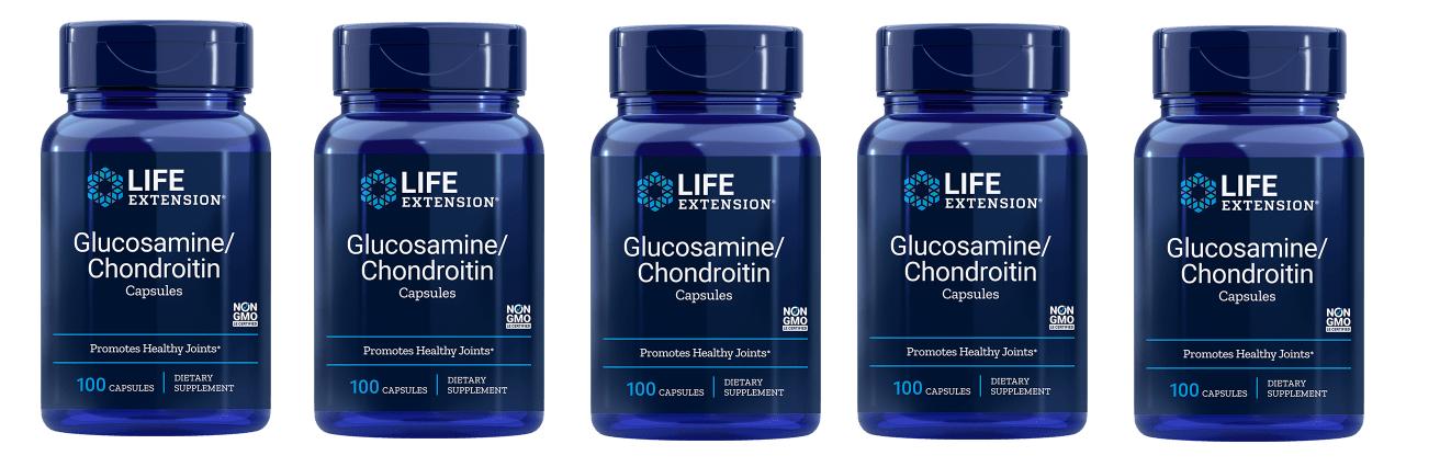 Life Extension Glucosamine/Chondroitin Capsules (100 Capsules), 5-packs