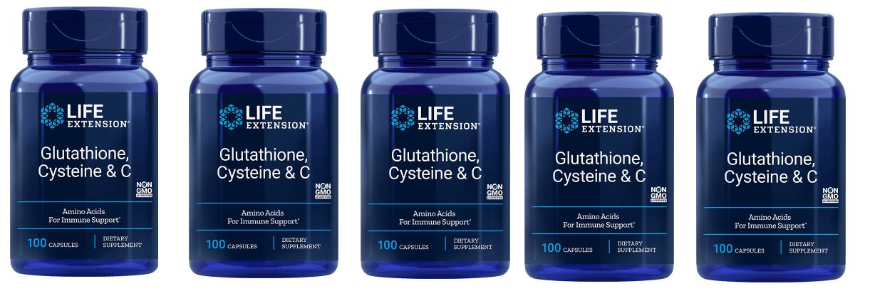 Life Extension Glutathione, Cysteine & C, 5-pack