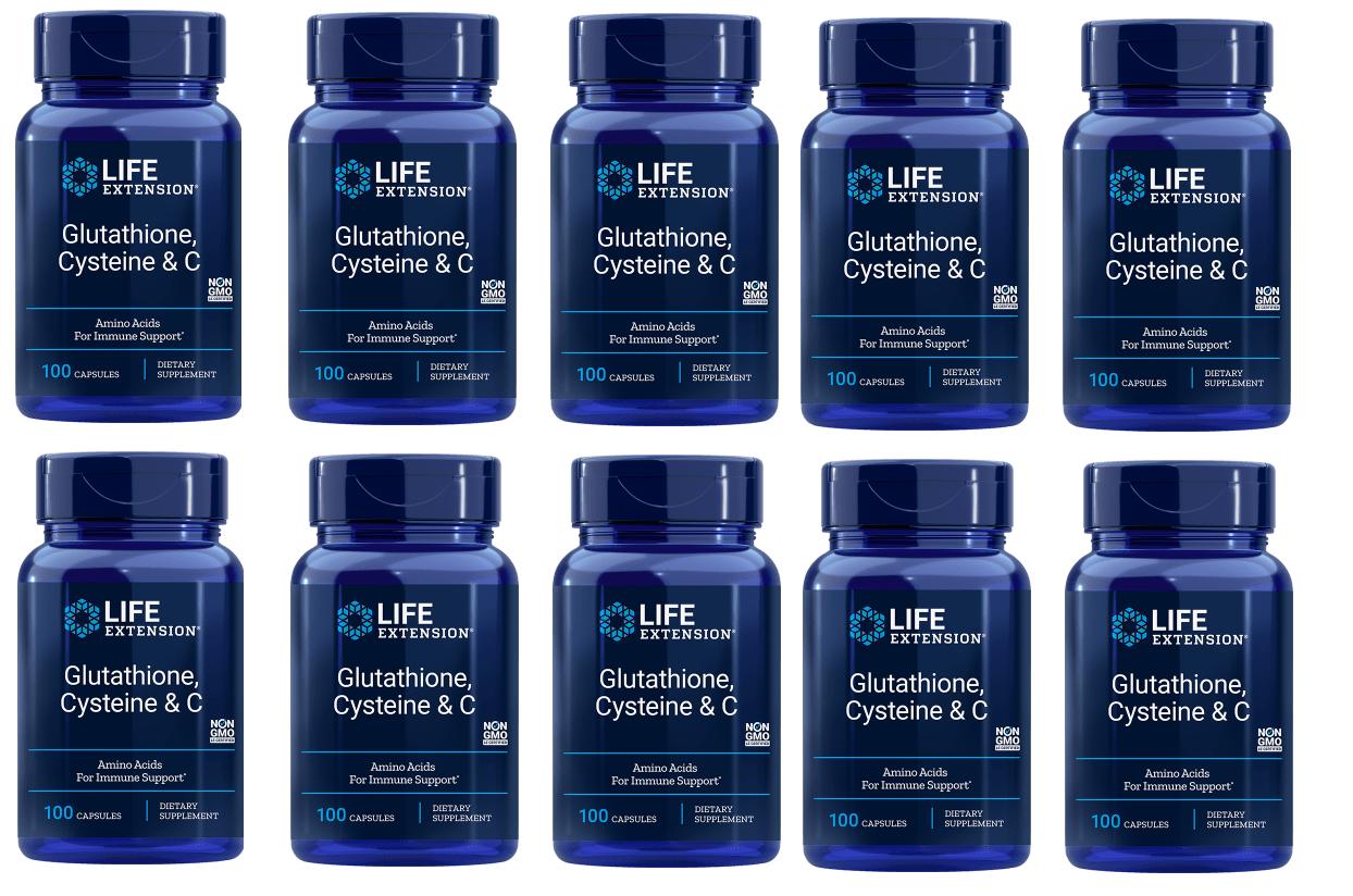 Life Extension Glutathione, Cysteine & C, 10-pack