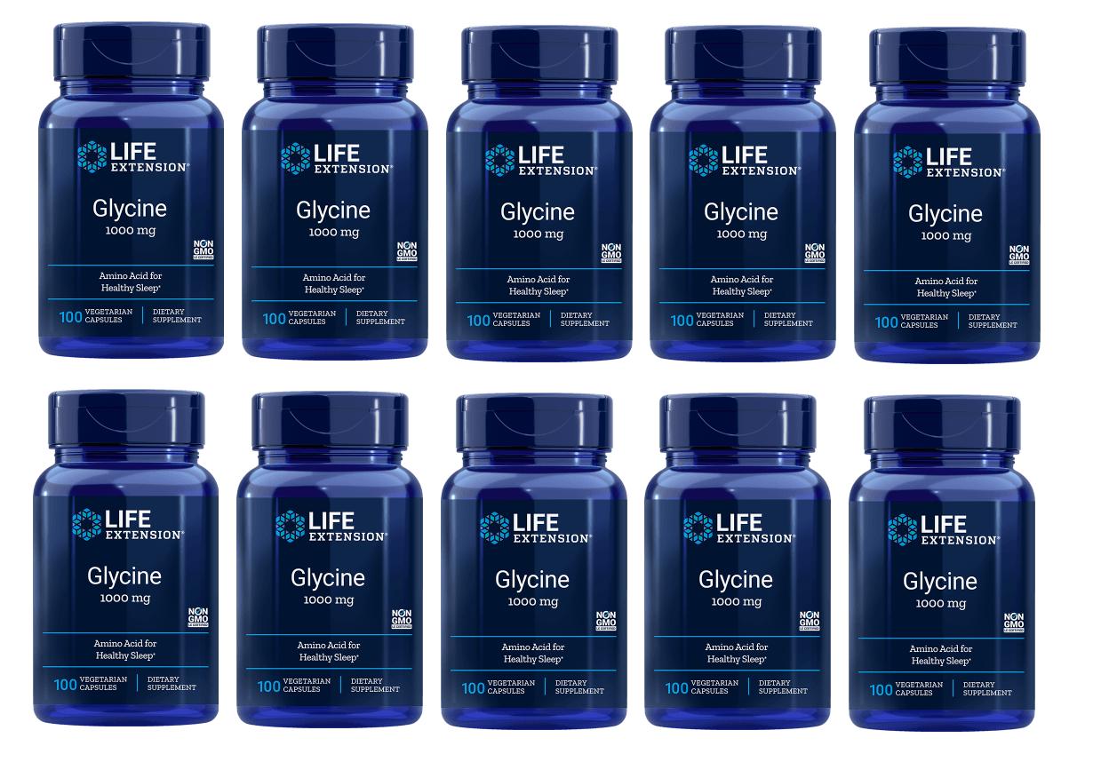 Life Extension Glycine, 1000 Mg 100 Vegetarian Capsules, 10-pack