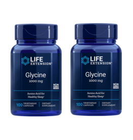 Life Extension Glycine, 1000 Mg 100 Vegetarian Capsules, 2-pack