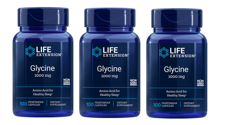 Life Extension Glycine, 1000 Mg 100 Vegetarian Capsules, 3-pack