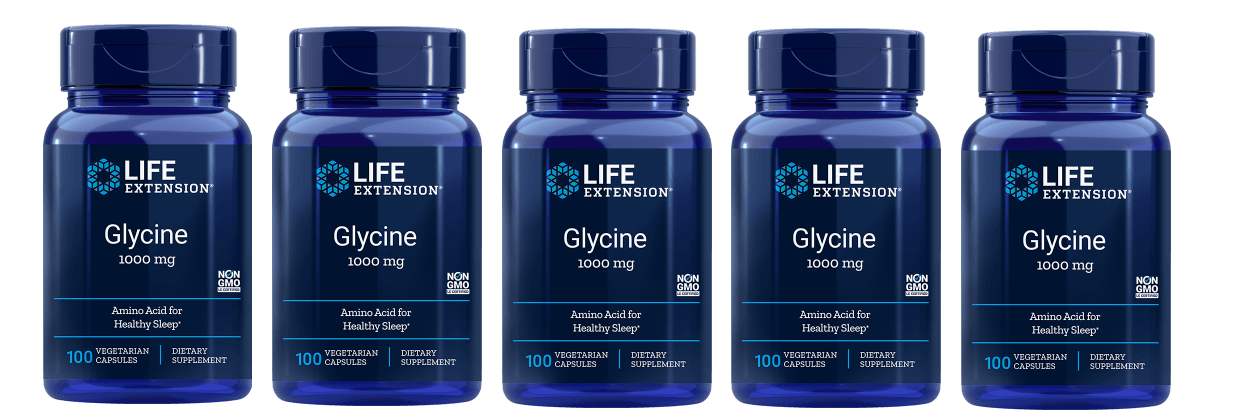 Life Extension Glycine, 1000 Mg 100 Vegetarian Capsules, 5-pack