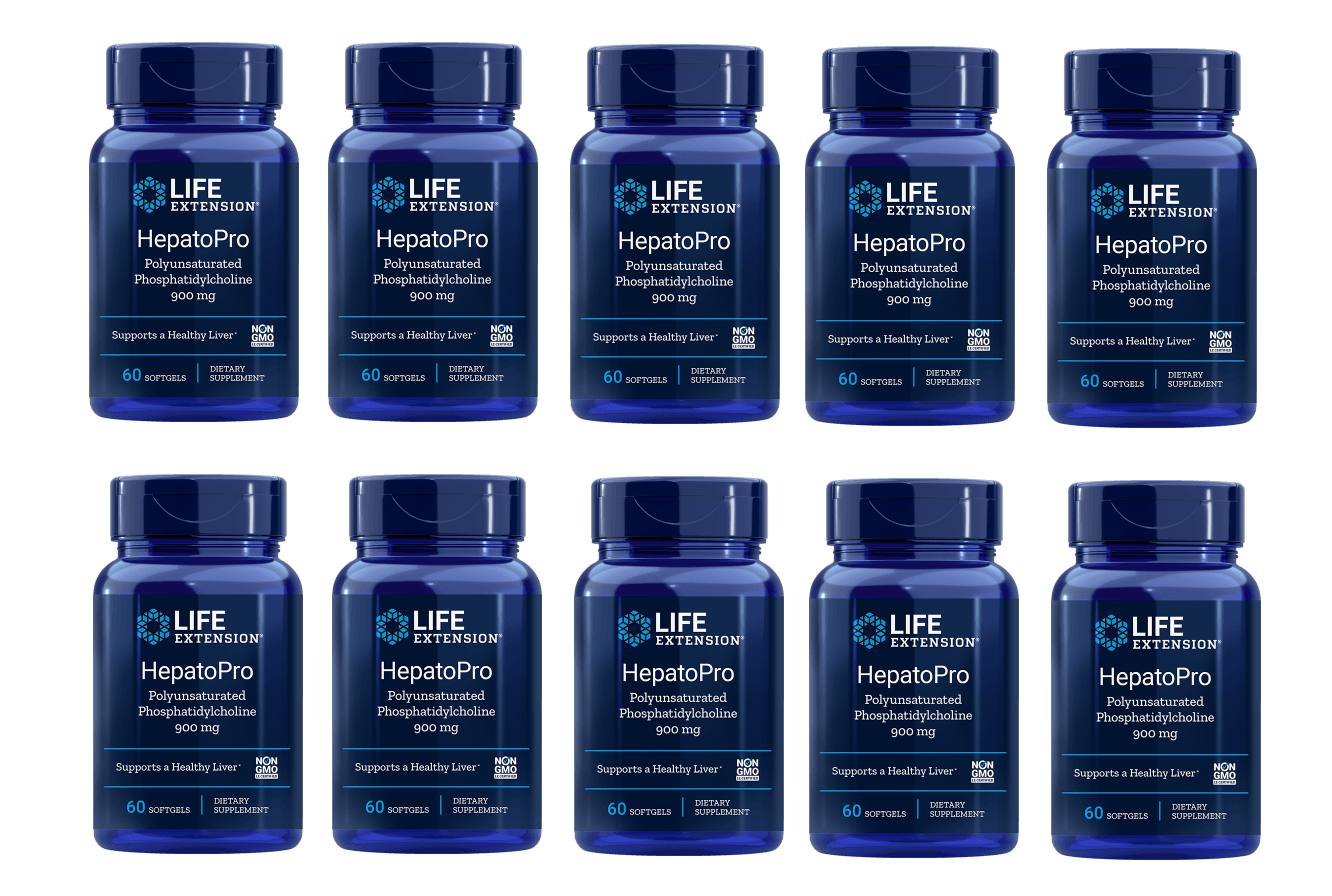 Life Extension HepatoPro (polyunsaturated Phosphatidylcholine), 900 Mg 60 Softgels, 10-pack