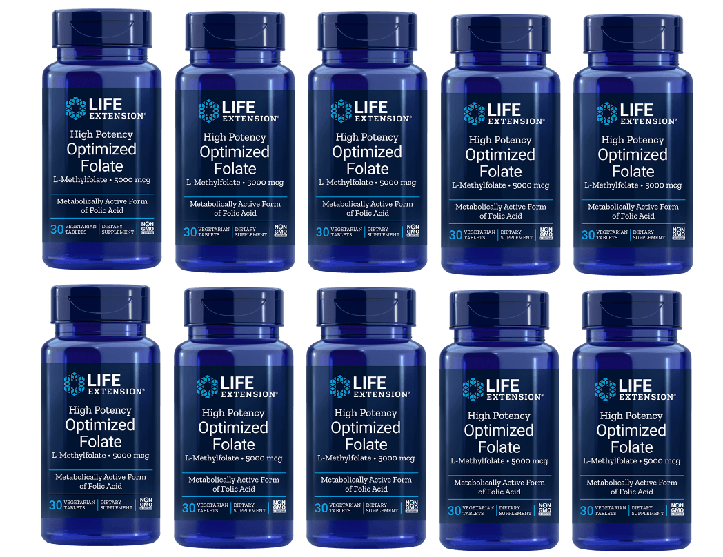 Life Extension High Potency Optimized Folate (L-Methylfolate), 5000 mcg, 10-packs