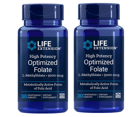 Life Extension High Potency Optimized Folate (L-Methylfolate), 5000 mcg, 2-packs