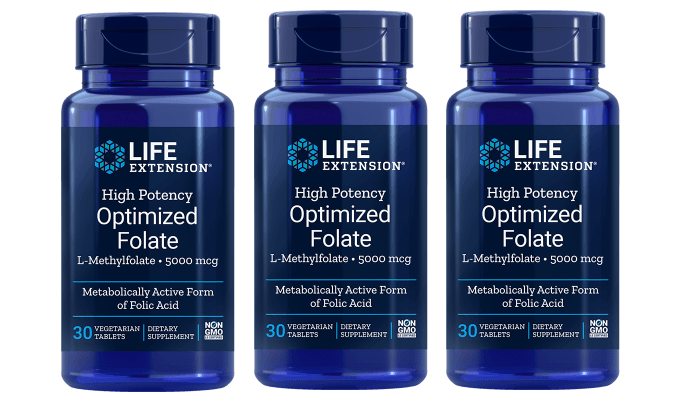 Life Extension High Potency Optimized Folate (L-Methylfolate), 5000 mcg, 3-packs