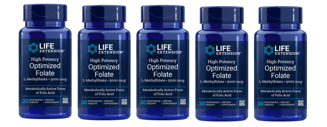 Life Extension High Potency Optimized Folate (L-Methylfolate), 5000 mcg, 5-packs