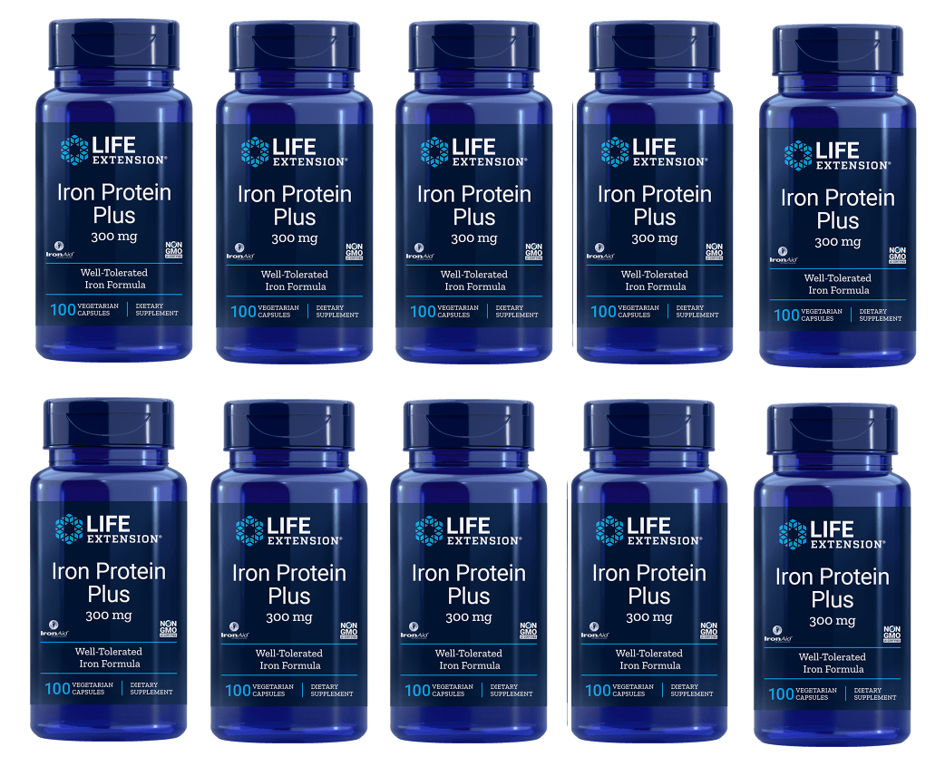 Life Extension Iron Protein Plus, 300 Mg 100 Capsules, 10-pack