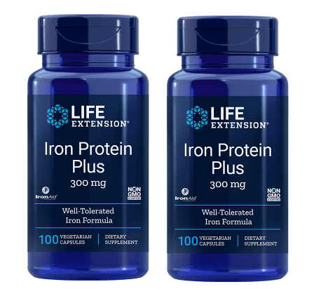 Life Extension Iron Protein Plus, 300 Mg 100 Capsules, 2-pack