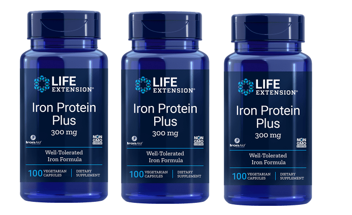 Life Extension Iron Protein Plus, 300 Mg 100 Capsules, 3-pack