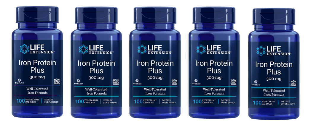 Life Extension Iron Protein Plus, 300 Mg 100 Capsules, 5-pack