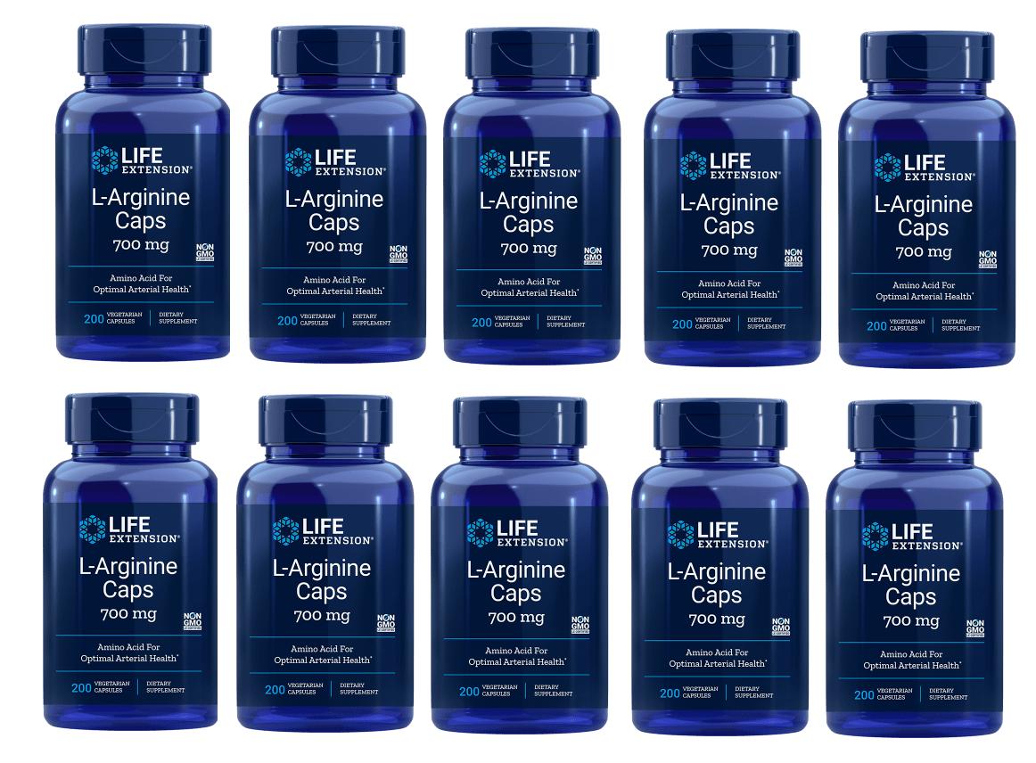 Life Extension L-Arginine Caps, 700 Mg 200 Vegetarian Capsules, 10-pack