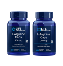 Life Extension L-Arginine Caps, 700 Mg 200 Vegetarian Capsules, 2-pack