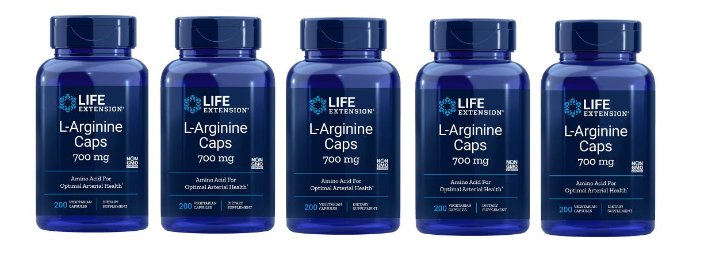 Life Extension L-Arginine Caps, 700 Mg 200 Vegetarian Capsules, 5-pack