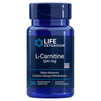Life Extension L-Carnitine, 500 Mg 30 Vegetarian Capsules, 2-pack