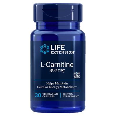 Life Extension L-Carnitine, 500 Mg 30 Vegetarian Capsules, 5-pack