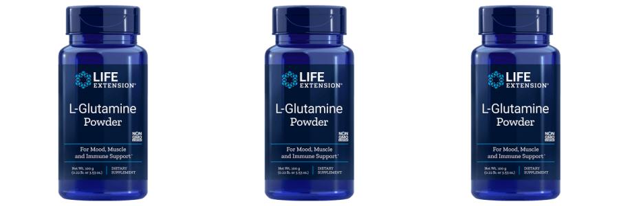 Life Extension L-Glutamine Powder, 100 grams, 3-packs