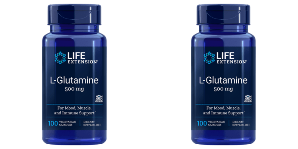 Life Extension L-Glutamine, 500 Mg 100 Capsules, 2-pack