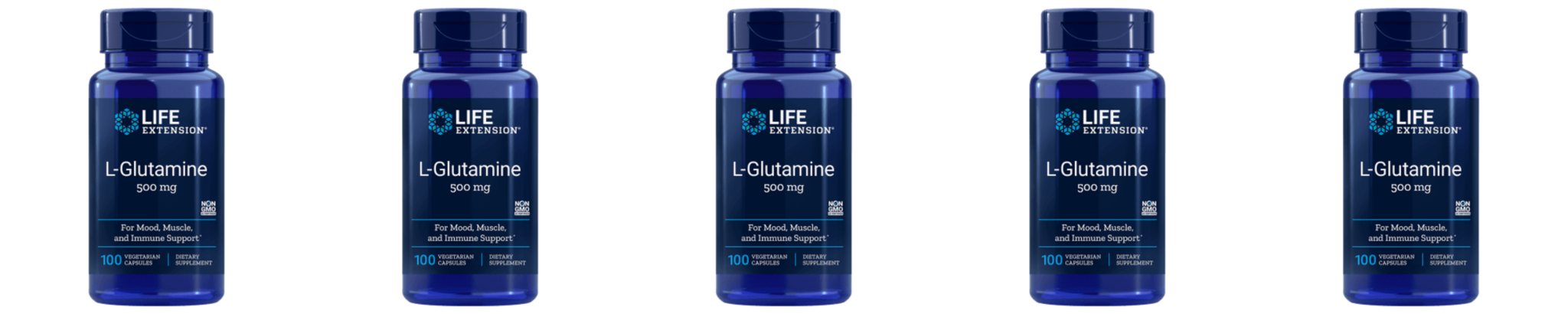 Life Extension L-Glutamine, 500 Mg 100 Capsules, 5-pack