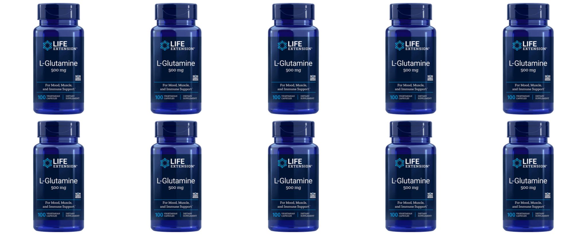 Life Extension L-Glutamine, 500 Mg 100 Capsules, 10-pack