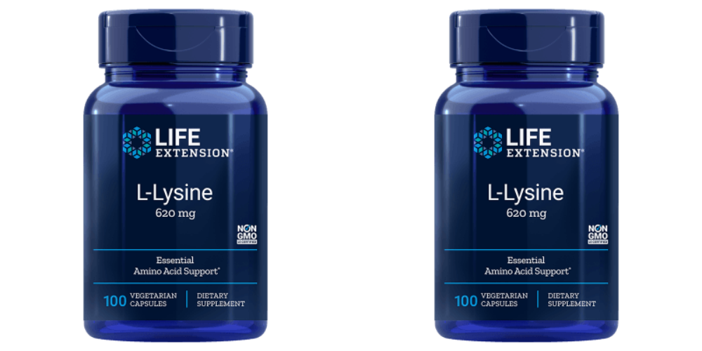 Life Extension L-Lysine, 620 Mg 100 Vegetarian Capsules, 2-pack