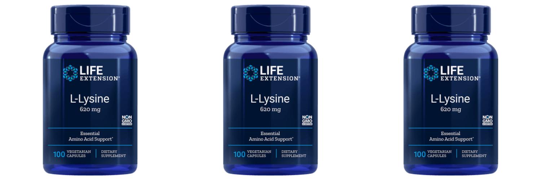 Life Extension L-Lysine, 620 Mg 100 Vegetarian Capsules, 3-pack