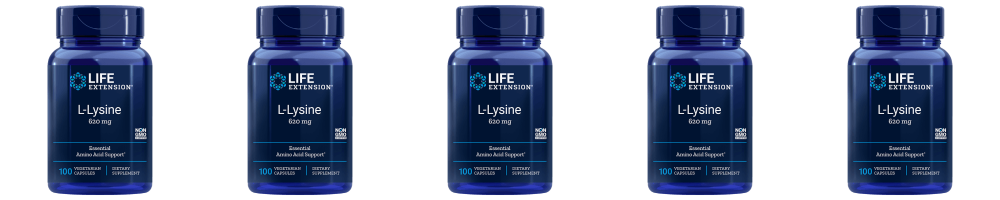 Life Extension L-Lysine, 620 Mg 100 Vegetarian Capsules, 5-pack
